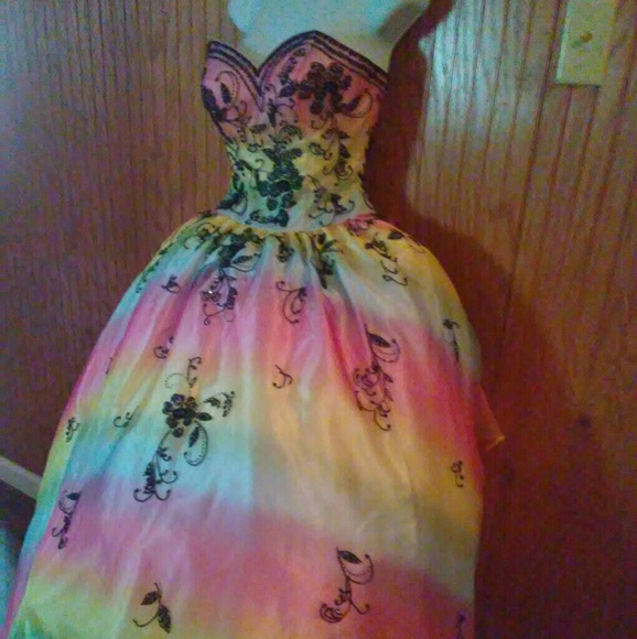 clearance brand new best quality Rainbow prom dress formal dress ball gown size 6